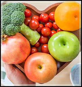 Bowl of fresh veggies and fruit