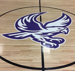 school logo on gym floor