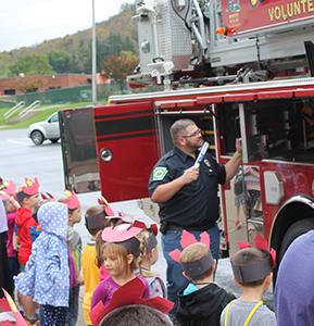 fireman and students