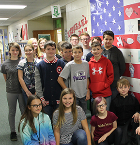 students with veterans day display