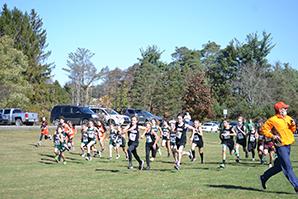 Cross country team running