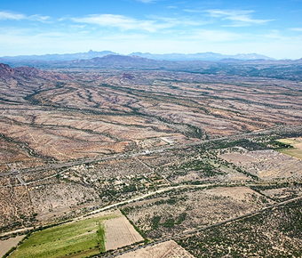 Arial shot of Arizona desert
