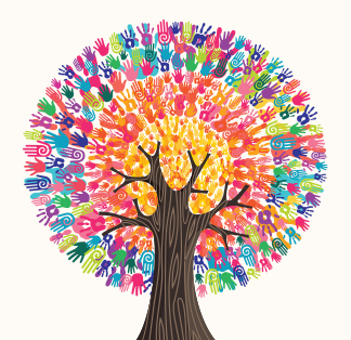 Tree-Made-Of-Colorful-Human-Hands