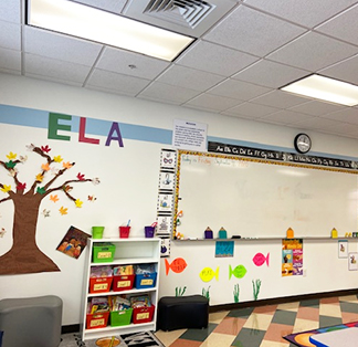 A beautifully decorated classroom with ELA on the wall