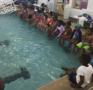 Students learning to swim