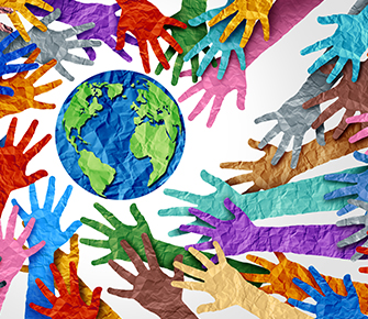 Colorful concept about inclusion and diversity with hands around a globe