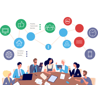 Drawing of district staff working together at a conference table