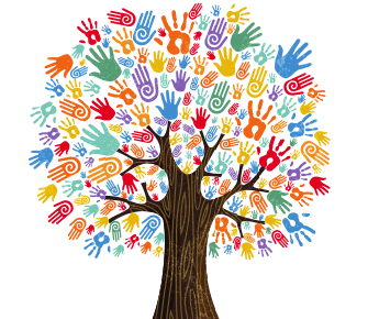 Tree With Colorful Human Hands
