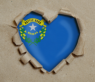 Nevada's seal showing through a heart shape