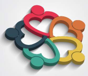 five colorful heart-shaped people in a circle