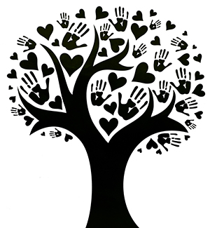 Black tree with heart-shaped leaves