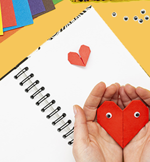 Calendar notebook with paper heart cut-out on top