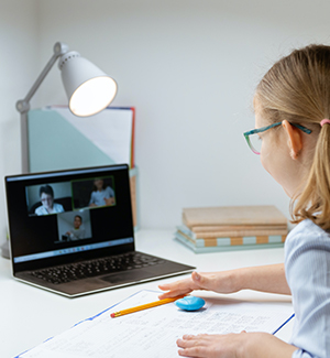 Student learning from home on a laptop