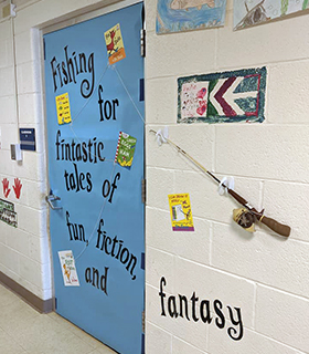 """Decorated hallway with Fishing for """"fintastic"""" tales of fun, fiction, and fantasy"""
