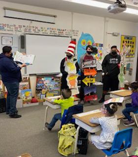 Classroom full of Dr. Seuss themed activities