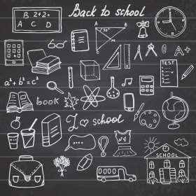 Educations icons drawn on a black background