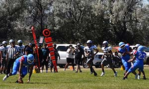 Football team playing against Pyramid Lake