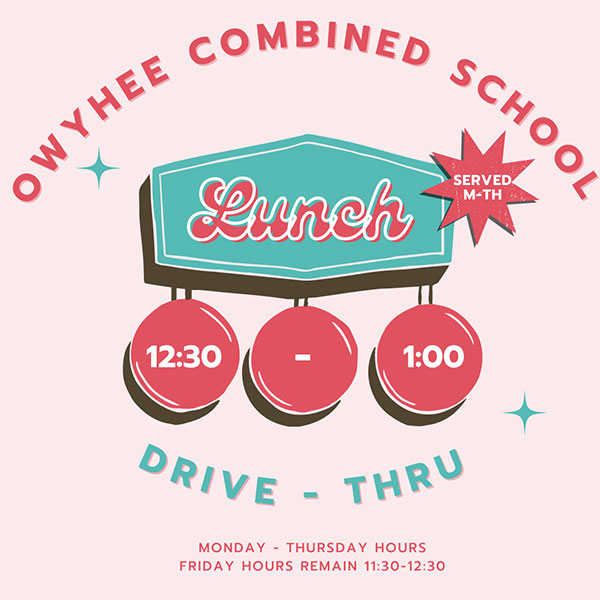 Monday through Thursday Drive-thru Lunch Hours are now 12:30-1:00 PM
