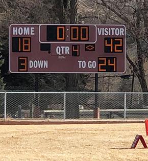 Outdoor score board on school field