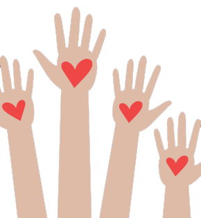 drawing of students hands in the air with hearts