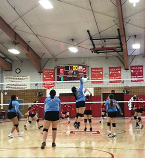 Girls volleyball team during a game