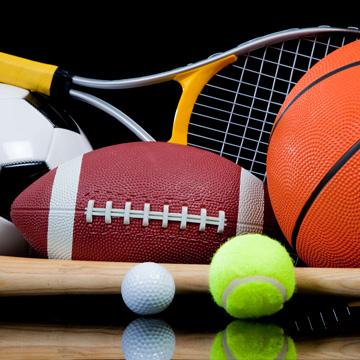 various sport rackets and balls