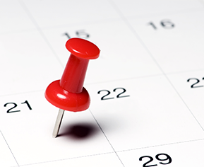 calendar with a thumbtack