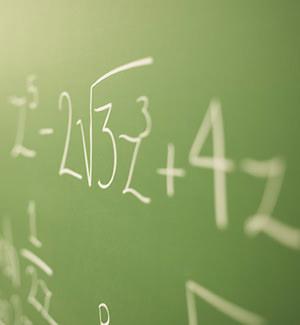math problem on chalkboard closeup