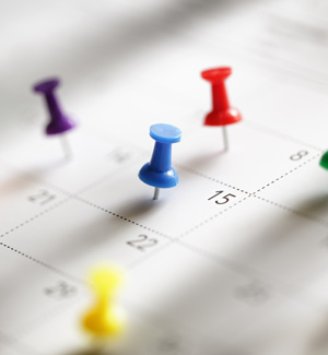 calendar with pins