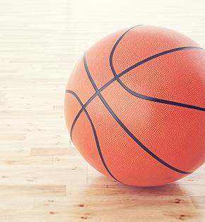 basketball on an empty court