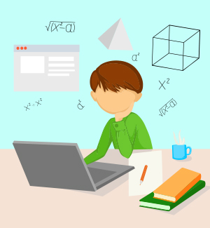 Drawing of a student sitting at a desk with educational icons