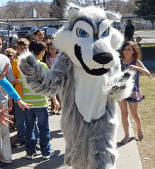 school mascot with students