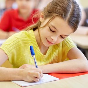 closeup of a student writing