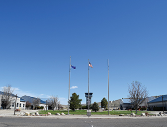 buildings and flagpoles