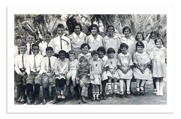 black and white photo of the kids in the 1924 orphanage