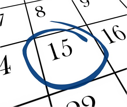 calendar with the 15th circled in blue