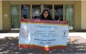 Isabella with her banner