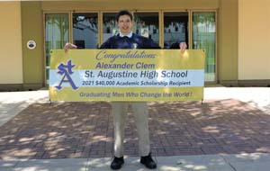Alex with his banner