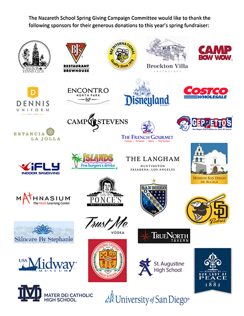 the nazareth school spring giving campaign committee would like to thank the following sponsors for their generous donations to this year's spring fundraiser