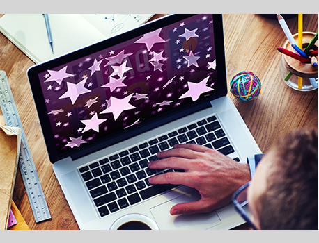 laptop with stars