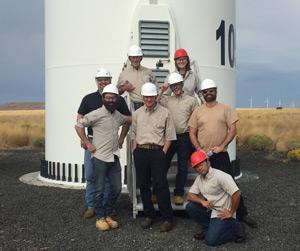 Students at wind farm