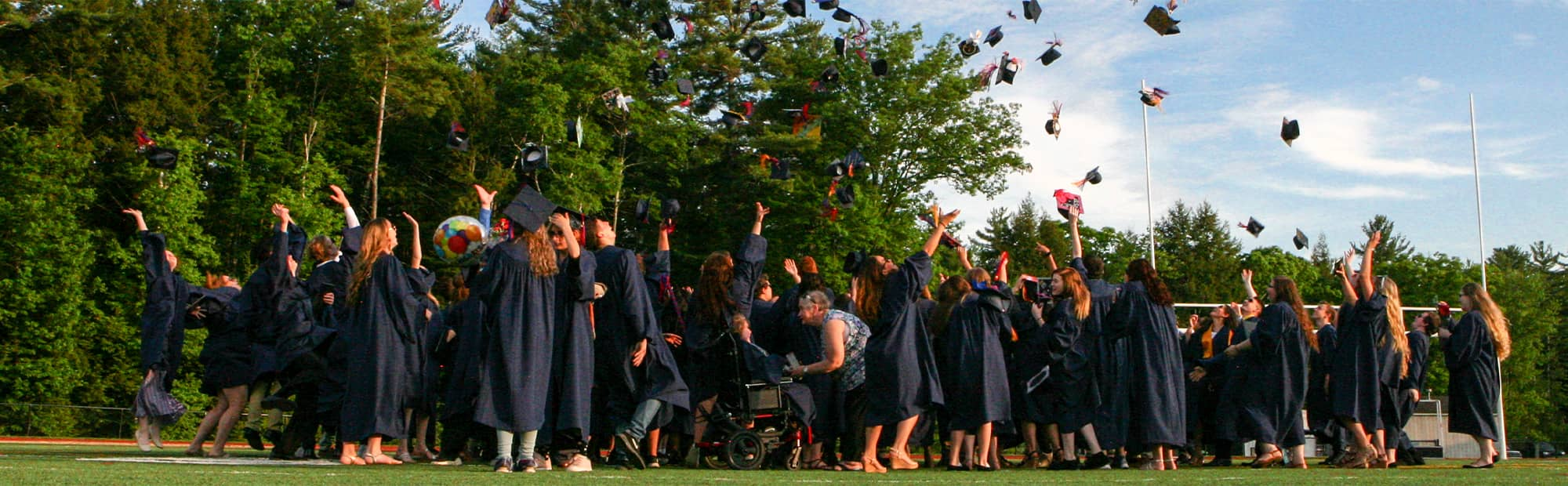 Students Throwing Caps in the Air at Graduation