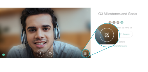 Graphic about how to blur a background before a video call on Google Meet