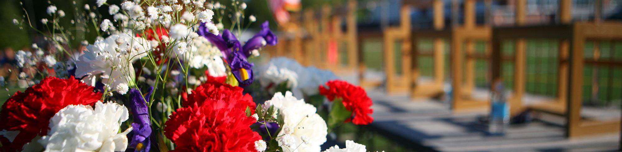Graduation flowers outside