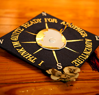 Graduation hat with compass