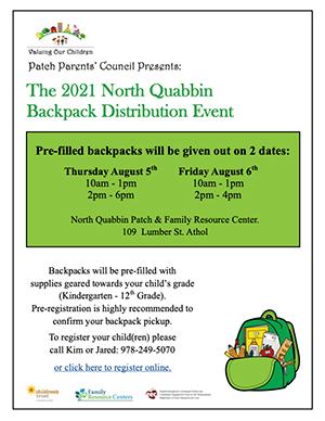 Backpack distribution event flyer