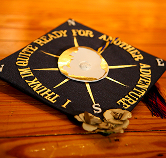 Close up of a decorated graduation cap
