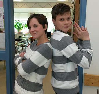 Two students dressed as twins