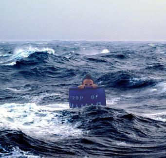 Student in ocean graphic