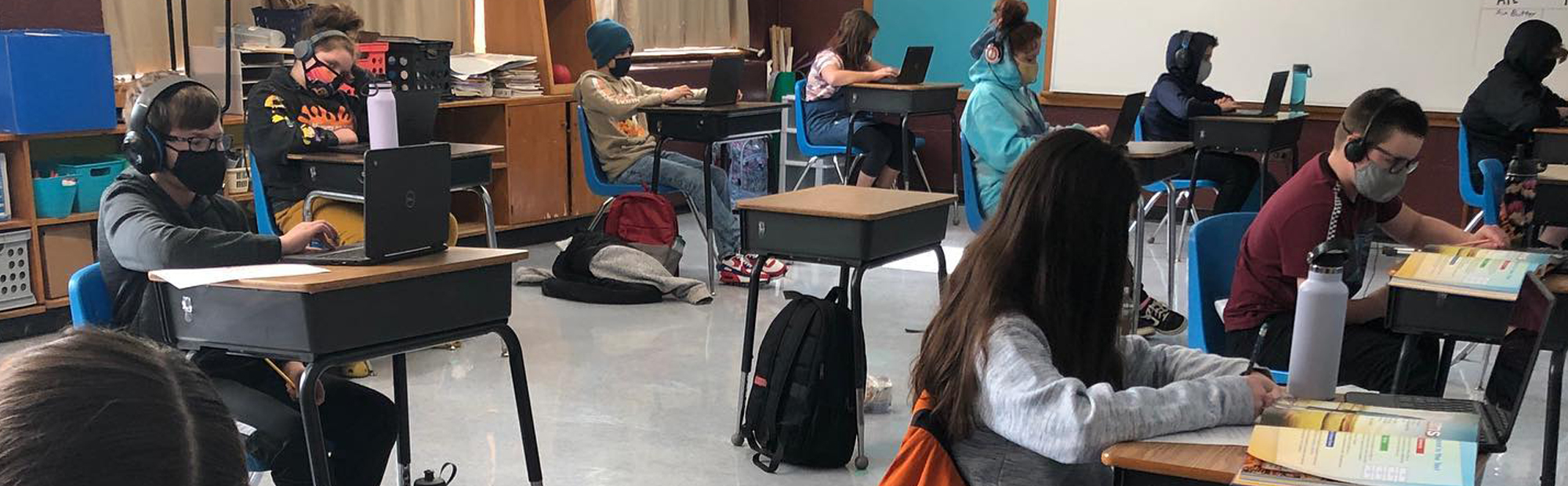 students sitting at their desks
